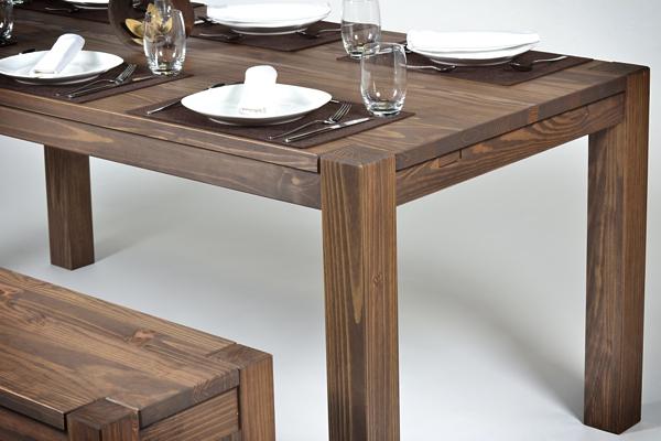 Esstisch Massivholz Pinie :  Rio Bonito Tisch 140x80cm+2 Bänke 140 cm Pinie Cognac braun
