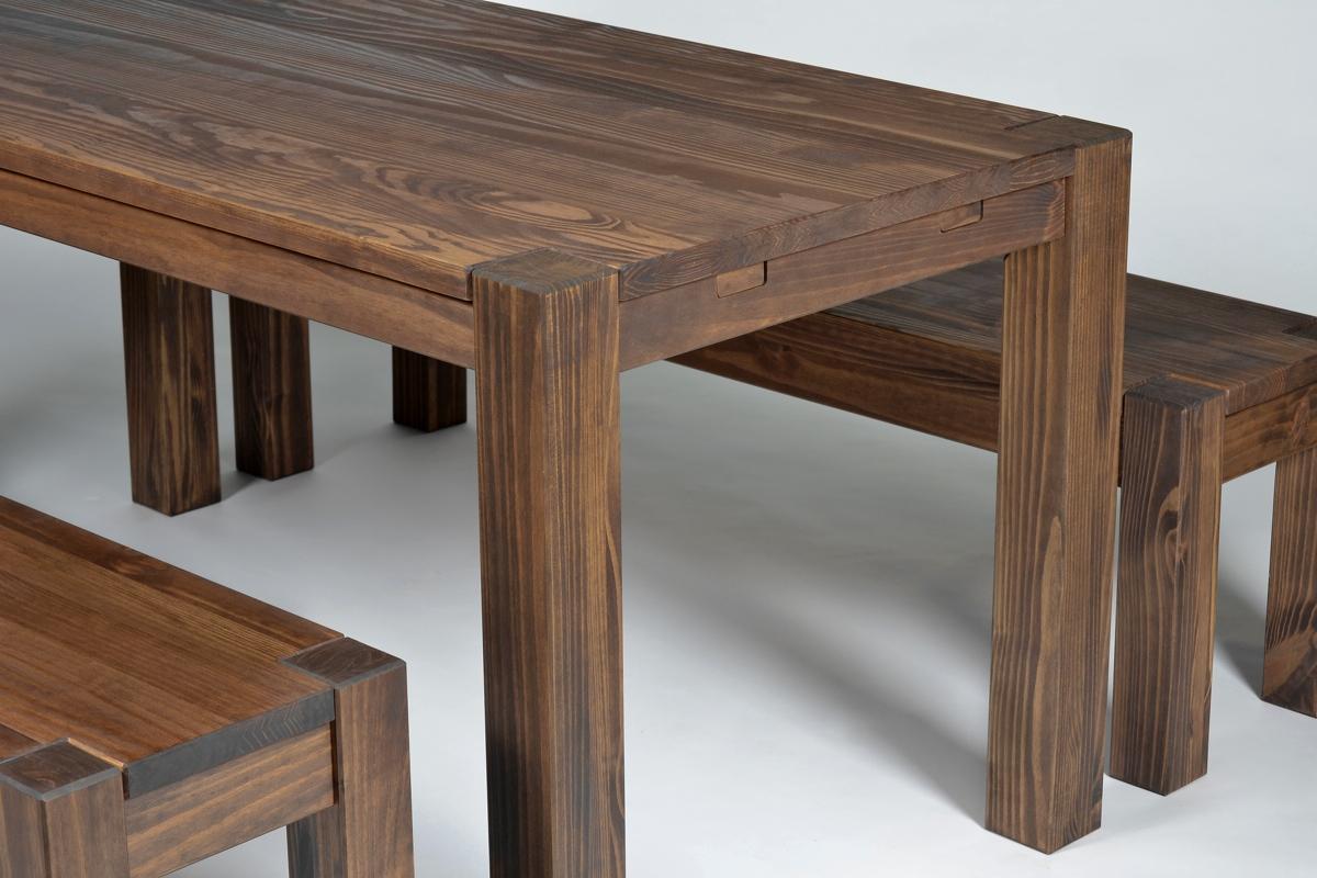Sitzgruppe Rio Bonito Tisch 160x80cm +2 Bänke 160cm Pinie Cognac Braun