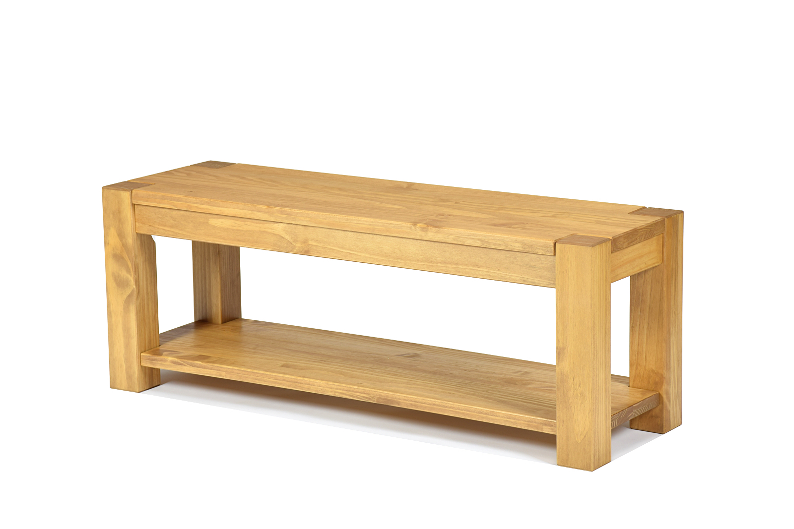 Sitzbank mit Ablageboden 120x38cm Honig hell Rio Bonito Massivholz Bank Pinie