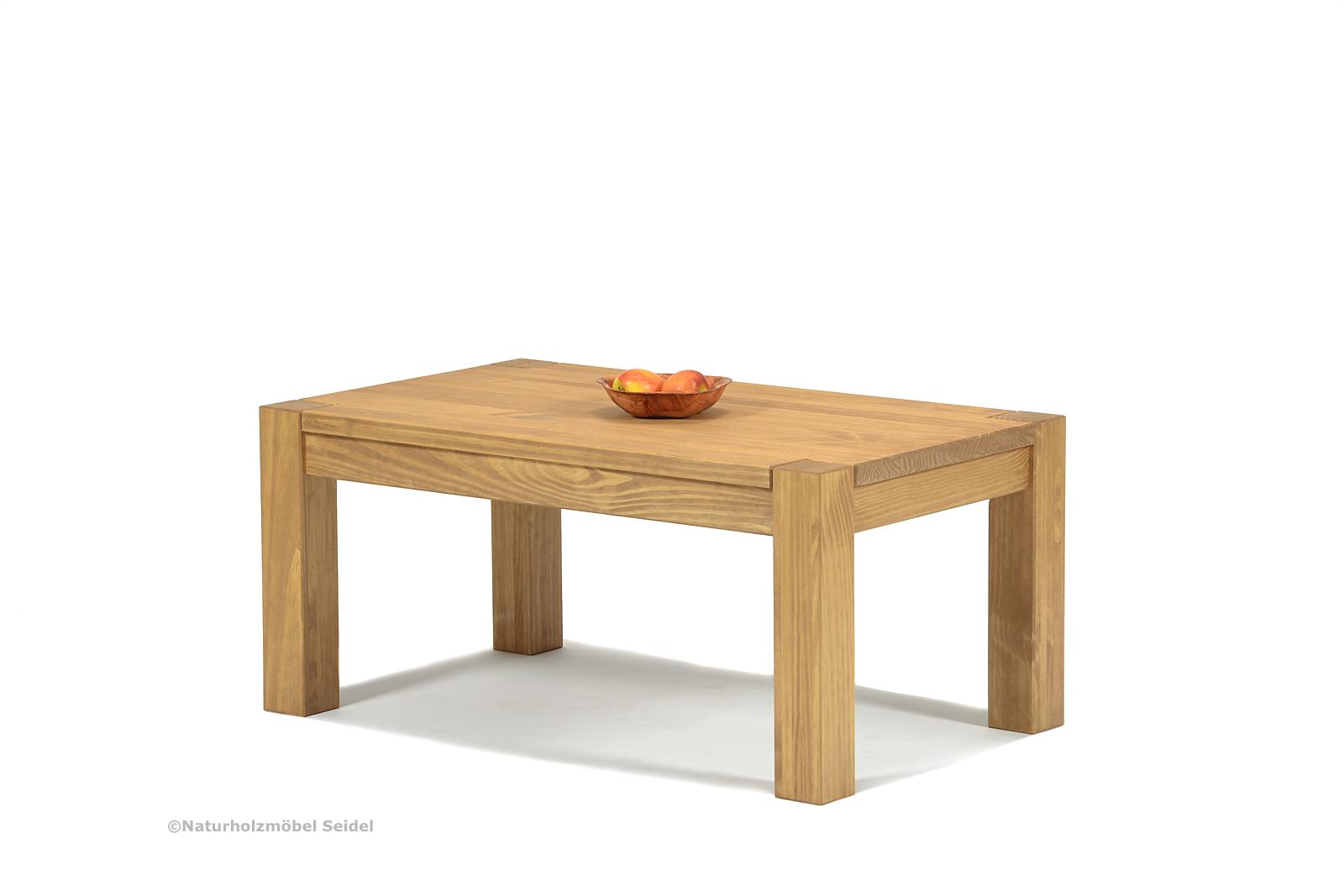 Couchtisch ohne Ablage 90x50 Massivholz Pinie Honig hell Höhe wählbar