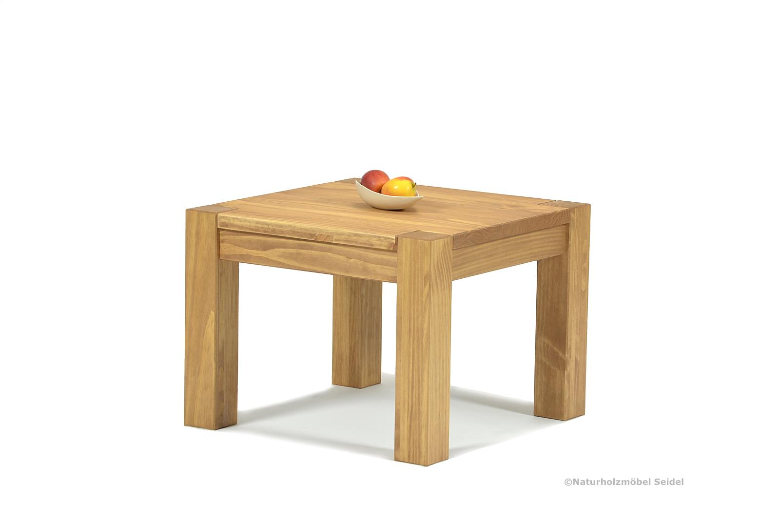 Couchtisch ohne Ablage 50x50 Massivholz Pinie Honig hell Höhe wählbar