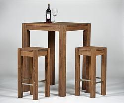 Hochtisch Rio Bonito 80x80x110 + 2 Barhocker 35x35 cm Pinie Cognac braun