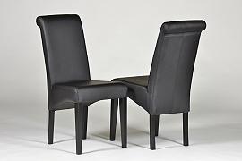 2 Stühle schwarz Polsterstuhl, Massivholz Buche, Kunstleder