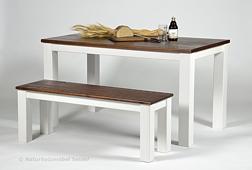 Sitzgruppe ,,Rio Landhaus,, Tisch 120x80cm + 2 Bänke, Pinie rustikal