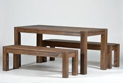 Sitzgruppe Rio Bonito Tisch 120x80cm+2 Bänke 120 cm Pinie Cognac braun